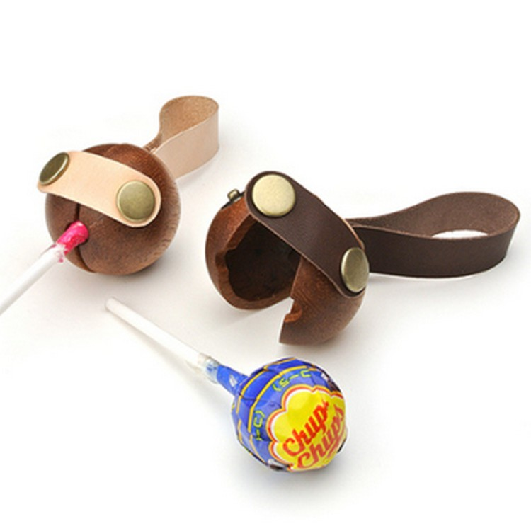 Hot Selling Domestic Made Candy Bags Wooden and Leather Case for  Children Carry Up Lollipops Custom Logo