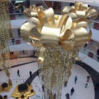 Christmas custom festival gold cloth large crown charm holiday hanging pendant indoor atrium shopping mall decoration