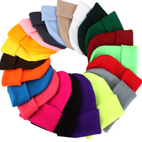Winter Hats for Woman New Candy Beanies Knitted Solid Hat wholesale