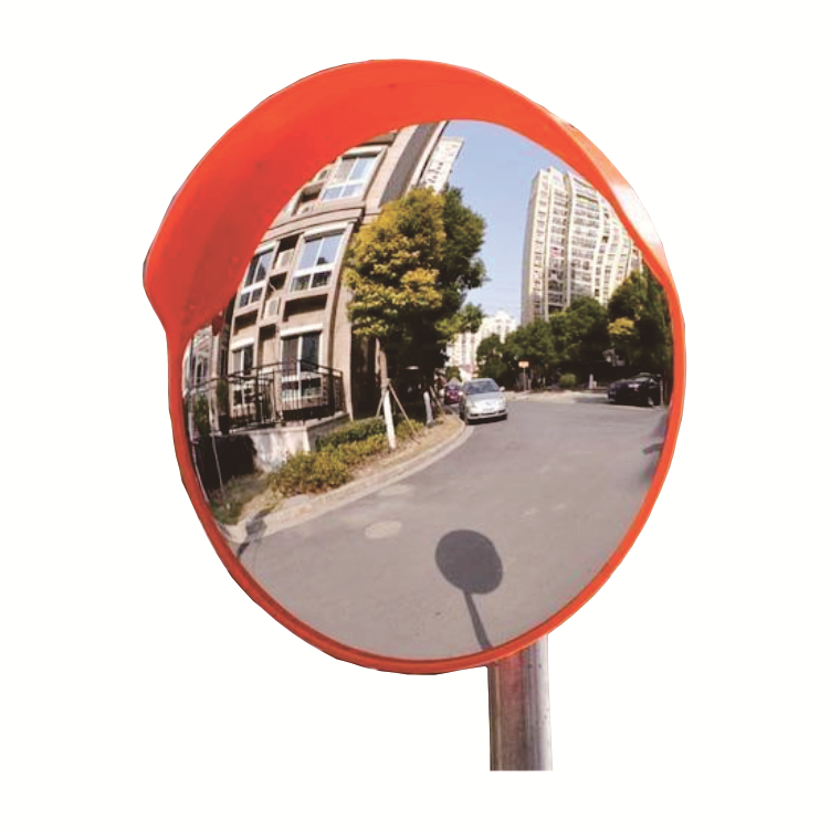 Convex mirror for bikers and pedestrians to solve the safety of road bridge corner