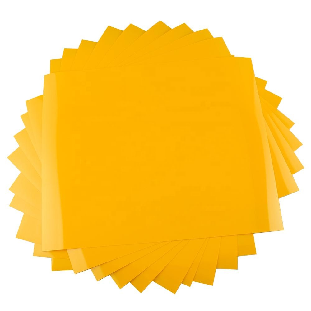 China <strong>manufacturer</strong> 10 sheets yellow 12 inch <strong>x10</strong> inch PU matte custom heat transfer vinyl sheet for clothing