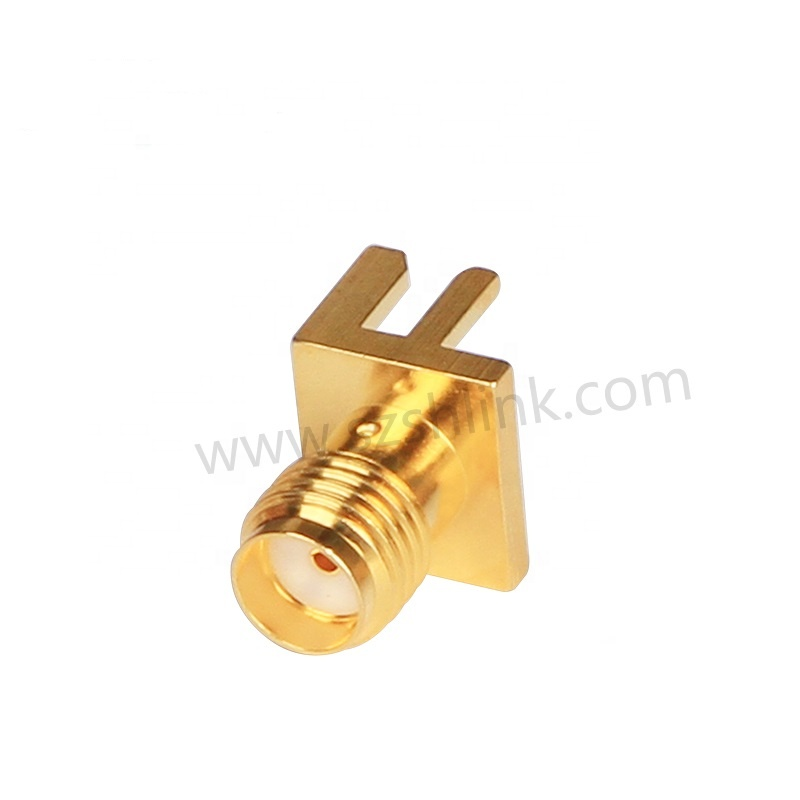 RF Coaxial SMA Connector jack Female Straight 4 <strong>Holes</strong> for PCB Edge Mount Connector