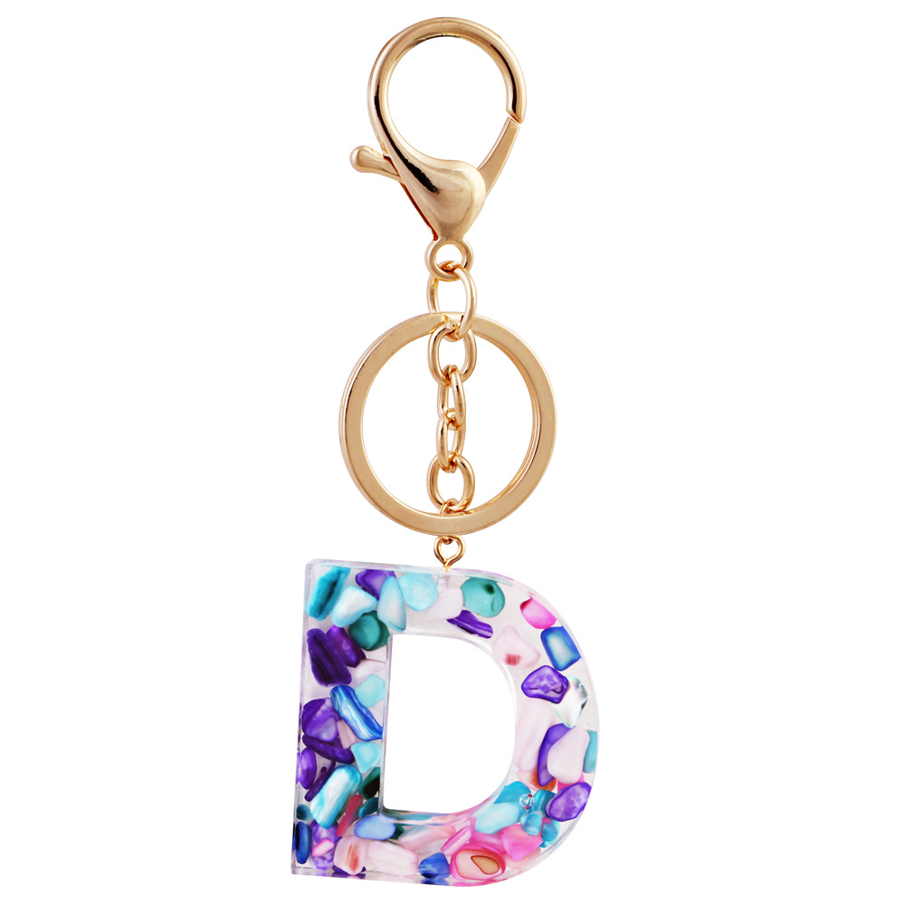 ZGL002 Trade assurance multi-color Acrylic 26 letters key ring simple pendant drop hollow round keychain Euroe fashion jewelry