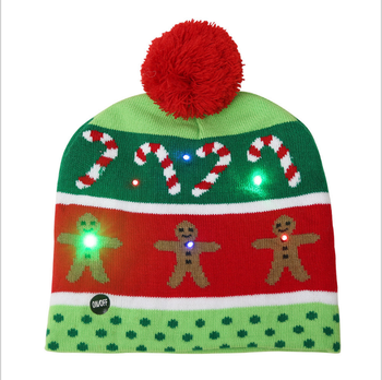 2020 Winter LED lighted Christmas Decoration With Flashing Knitted Beanie Christmas Hats