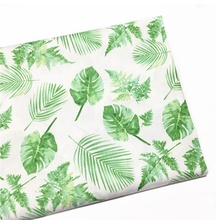 Green Plant Print Twill 100% Cotton Custom Woven Fabric for Home Textile Fabrics