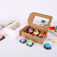 Cup Muffin Cupcake Box With Cake Tray Kraft Paper Cake Box Wedding Birthday Party Dessert Packaging Case Party Candy Box