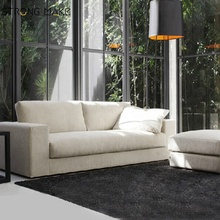 Upholstered 2-Seater Chaise White Fabric Sofa Chairs Living Room <strong>Furniture</strong>