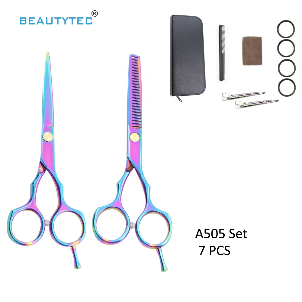 7 PCS  Rainbow Factory Price Hot Sale Professional 5.5 inch Hair Cutting Thinning Shears  Hairdressing Scissors Set