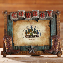 Resin Handmade wooden 3D cow boy 7&quot;*5&quot; <strong>photo</strong> frame