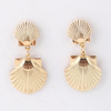 Newest 24k real full gold dipped scallop shell earrings natural gold scallop shell gold earrings jewelry women