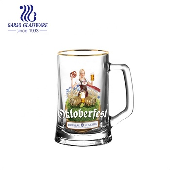 14 oz Beer Drinking Glass Brewery Beer Tankard Glass with Customize Logo and Decal Handle with Gold Rim