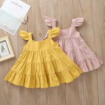 High Quality baby frock designs fancy Children Boutique linen cotton Clothing flutter dress Solid Color Kids Cotton Twirl Dress