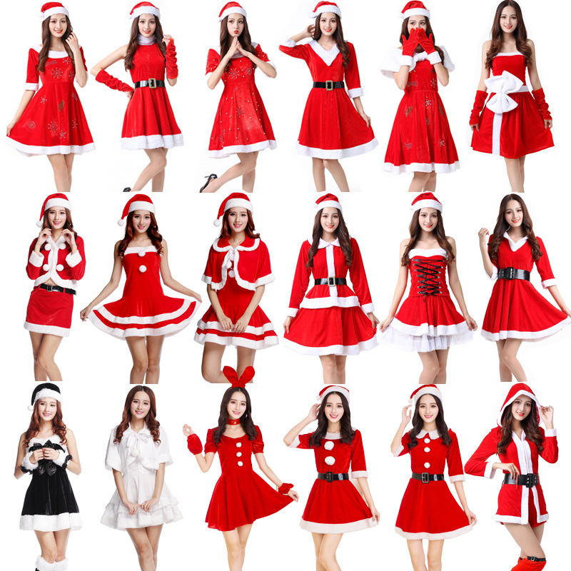Various styles Red Christmas Santa Claus Girl Dress Costume Santa Claus women Costume For Adult cosplay party