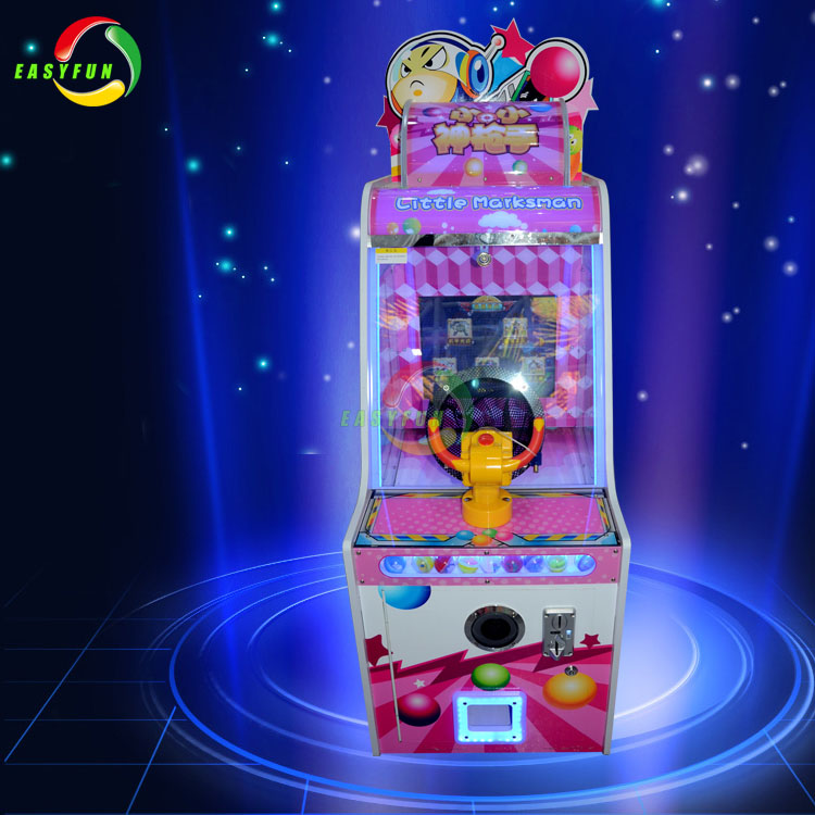 Kids indoor amusement coin operated lottery redemption game shooting ball machine