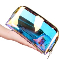 Amazon Hot sells women laser hologram pvc plastic cosmetic <strong>bag</strong> pouch transparent zippered holographic laser makeup <strong>bag</strong>