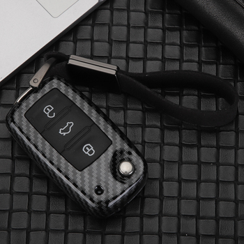 Newest Carbon Fiber Aluminum silicone Flip key Cover Fit For VW Volkswagen Tiguan Golf 4 5 6 GTI MK7 Passat BORA POLO