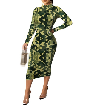 Wholesale Clothing 2019 Hot Selling Ladies Designer Dresses Women Camou Dress Custom
