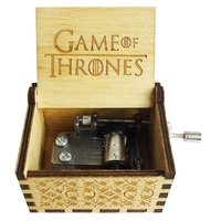 Wholesale Custom Wooden Music Box Engraved Hand Crank Game of Thrones Music Box for Christmas Birthday Gift
