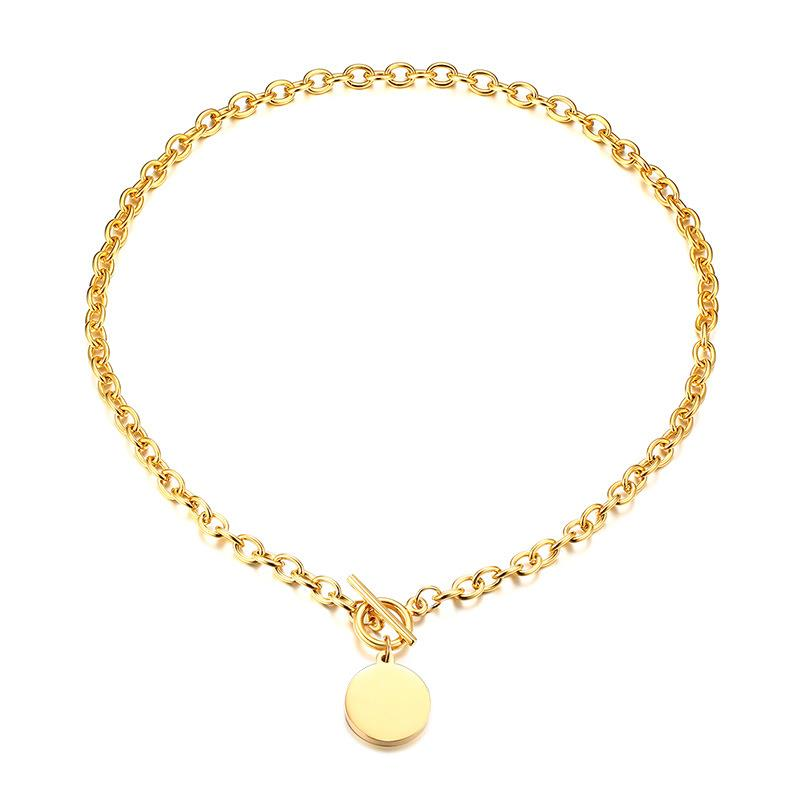 Trendy Blogger OT buckle Chain Necklace Stainless Steel 18K Gold Pendant Large Chain Dylam jewelry