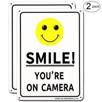 "10""x 7"" Smile You're On Camera Sign Video Surveillance Sign cctv warning signs"