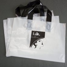 Custom Plastic Shopping Handle Bags With Own Logo And Text Printing