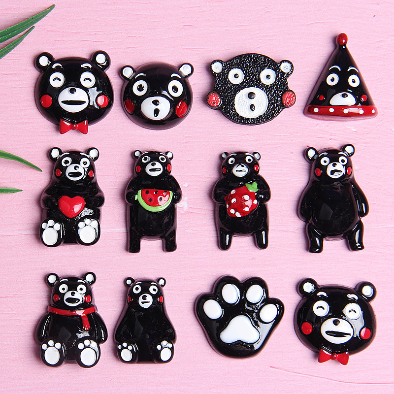Free Shipping 10pcs Cute Mixed Shapes Black Cartoon Bear Resin Artificial Flatback Hard Resin Cabochons DIY Craft Embellishments