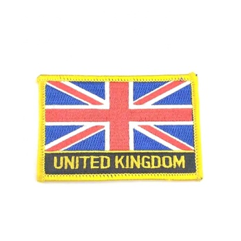 Heat Press Custom Badge National Flag Embroidery Patch Applique For Clothing