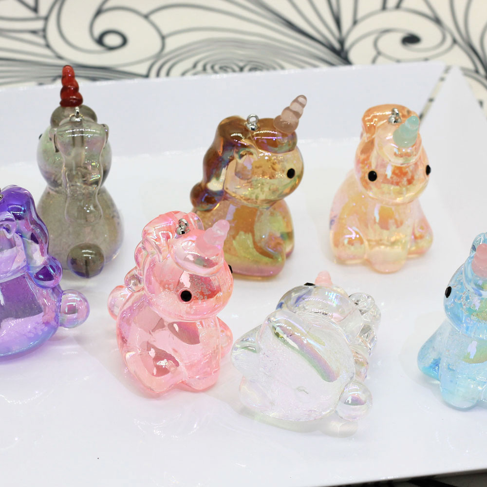 60MM Crystal AB Magical Unicorn Charms Sparkly Acrylic Crystal Unicorn Charms Pendants For Girls Party Favors Gifts