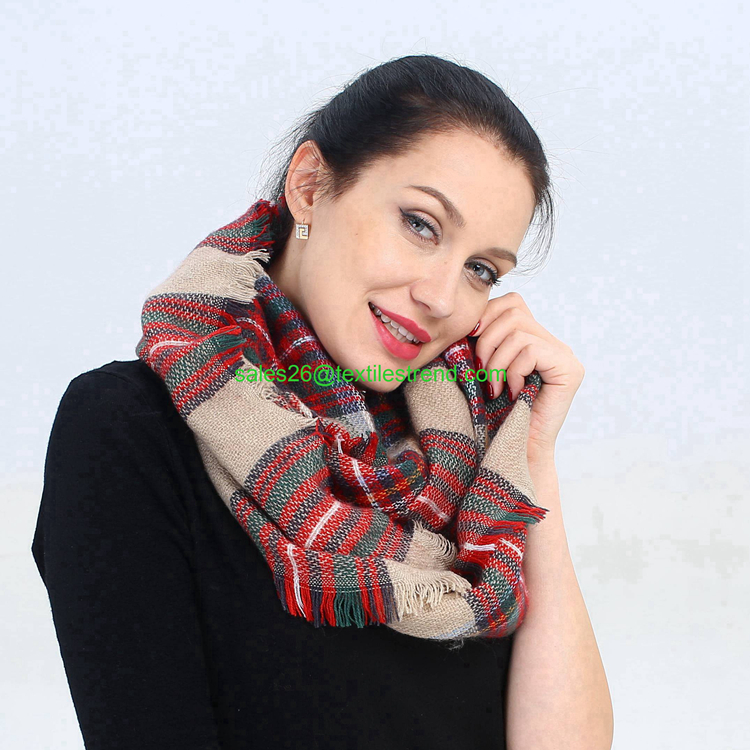 Tartan plaid fringe fashionable blended <strong>cotton</strong> acrylic infinity scarf
