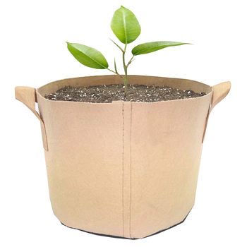 40 gallon tan green color nonwoven mushroom tree planter fabric pots felt grow bags for vegetable with handle