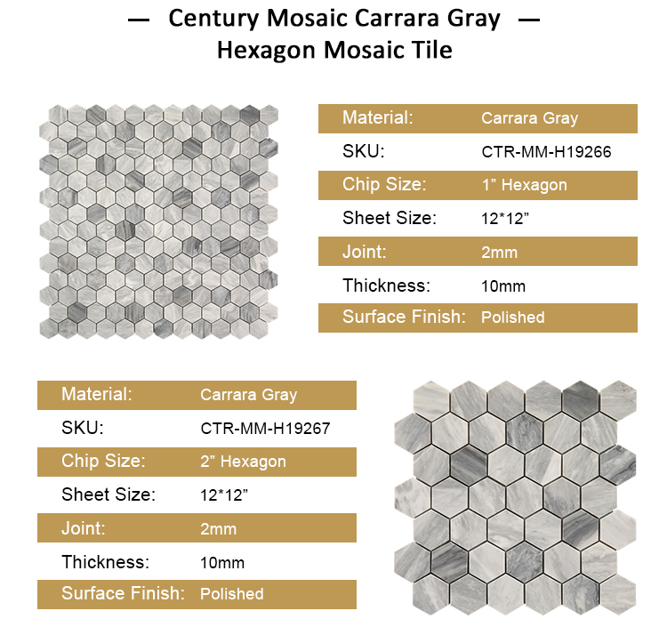 Hot Sales Century Stone Mosaic Carrara Gray Marble Tile Mosaic for Kitchen