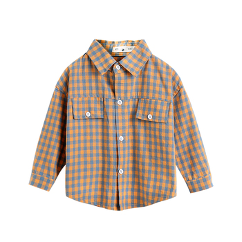 2019 casual fall long sleeve button down kids baby boys shirts