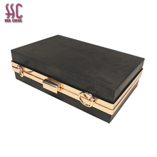 Factory price 18*12cm lightgold clutch eveningbag metal frame clutch <strong>wallet</strong> for ladies bag