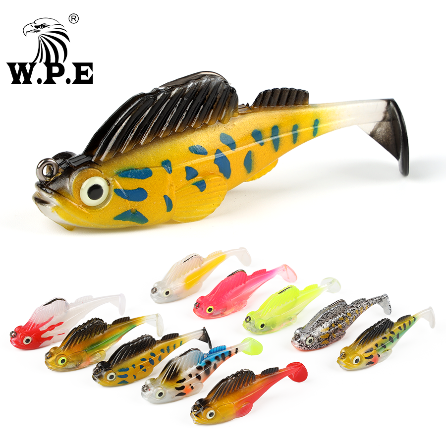 <strong>W</strong>.P.E 1pcs Lead Head Soft Lure 7cm 12.5g Silicone Swimbait Fishing Lure Jig Fishing Tackle T-tail Bait Pike Perch Bass Fishing
