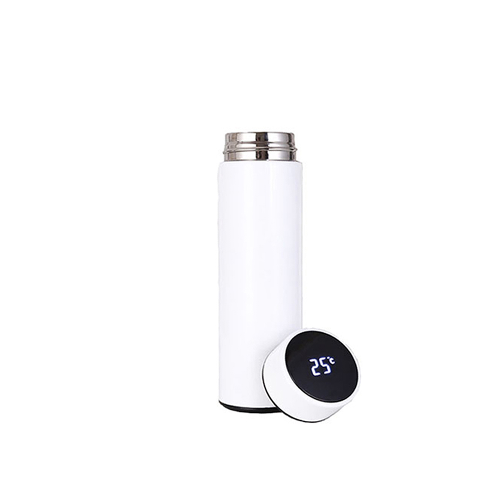 Smart Water Bottle With Tea Infuser Stainless Steel Double Walled Intelligent Vacuum Flask (White)