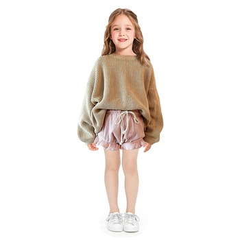 Hot sale kids girl clothing baby clothes chunky knit pullover
