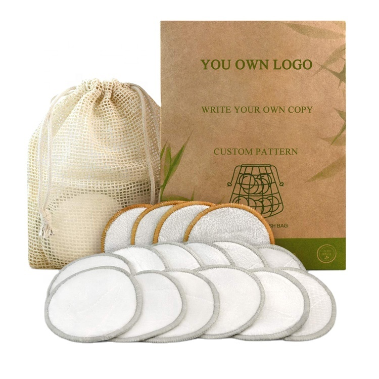 Bamboo Cotton Face Reusable Make Up Remover Pads Washable Makeup Remover Pads with Konjac Sponge