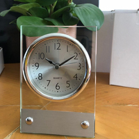 Amazon Hot Sale Hotel Beside Silver metal glass alarm clock