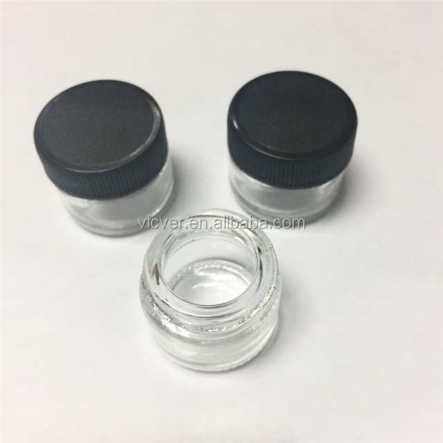 5ml Glass Jar CBD Concentrates Extract Oil Jar with Black Lid custom glass jar shatter containers