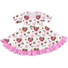 customized pink valentine's day loving heart short sleeve ruffle <strong>girl's</strong> twirl <strong>dress</strong> new baby's clothes