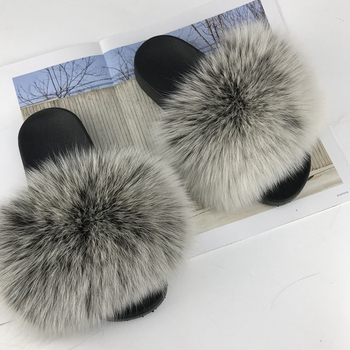 Fur Slide Vendors Fast Shipping Cheap Raccoon Sandals Slides For Women Customized Fox And Matching Bsg Light Pink Black