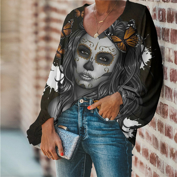 Summer Chiffon Black Women's Blouses Sugar Skull Gothic Top Shirt Sexy V-Neack Chemisier Ladies' Blouses Social Female