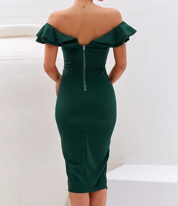 Off shoulder ruffled padded midi dress fashion emerald cocktail dress women garment