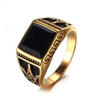 Great Wall black zircon ring gold stainless steel masonic rings for men