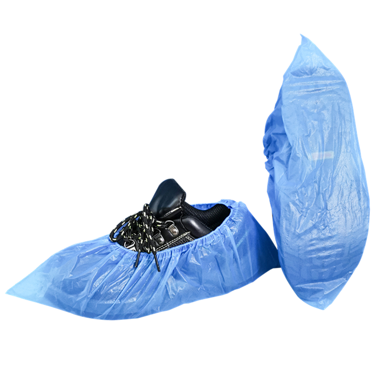 Cheap blue plastic disposable shoe cover