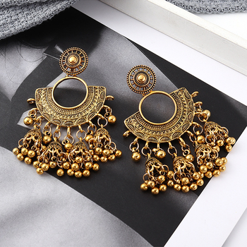 Indian Traditional Jewelry Fashion Vintage Jhumki Silver Bell Shaped Big Jhumka Earrings
