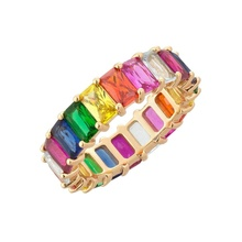 LOZRUNVE Dubai Colorful Square Stone Band Rainbow Baguette Eternity Rings Silver 925