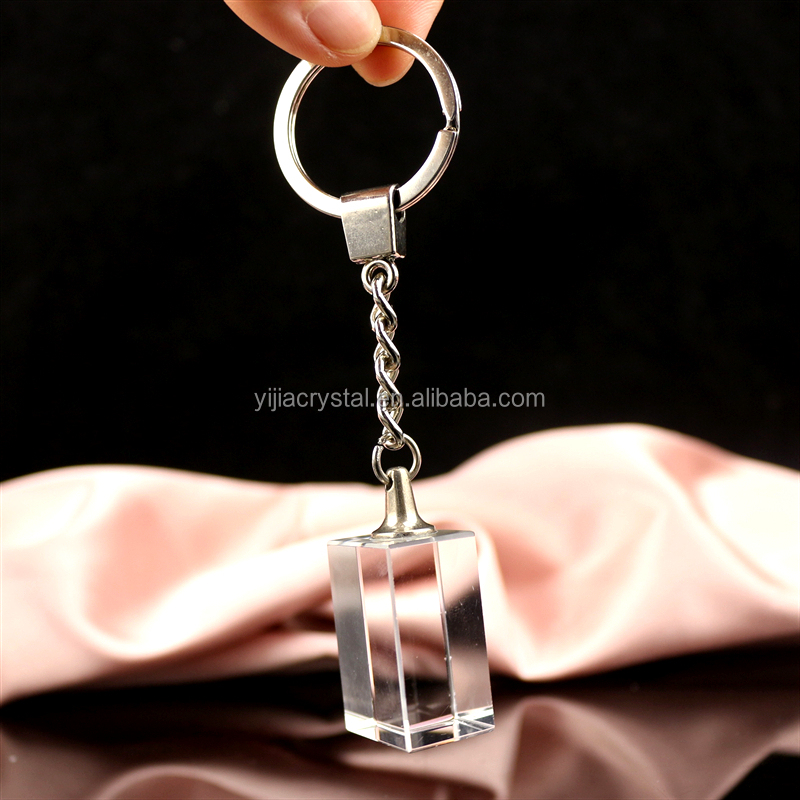 Customized 3D Laser photo Crystal Keychain/Personalized blank key chain flashlight