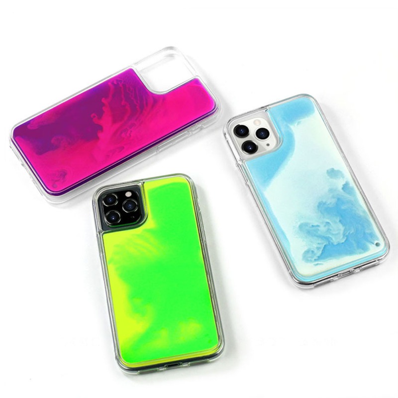 2020 Newest High Quality Quicksand Neon Liquid Glitter Mobile Phone Case For iPhone Series iPhone <strong>11</strong> / Pro / Max