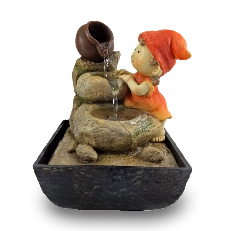 indoor water fountain cute gnome figurine christmas ornaments